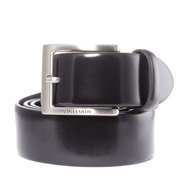 Black Plain Patent Leather Belt With Branding On Buckle