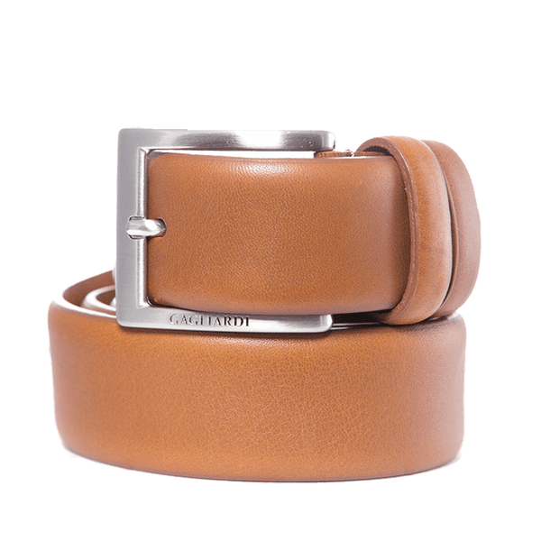 Tan Plain Leather Belt With Branding On Buckle