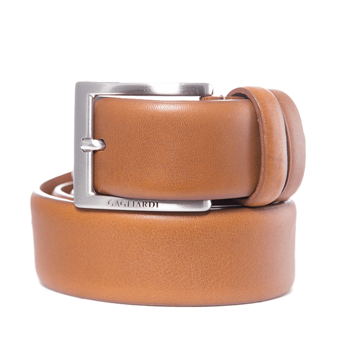Tan Plain Leather Belt With Branding On Buckle - Gagliardi