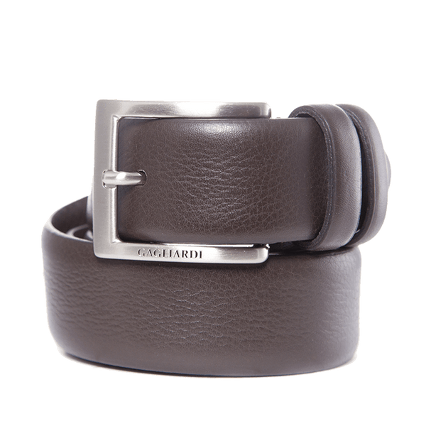 Brown Leather Belt With Branding On Buckle