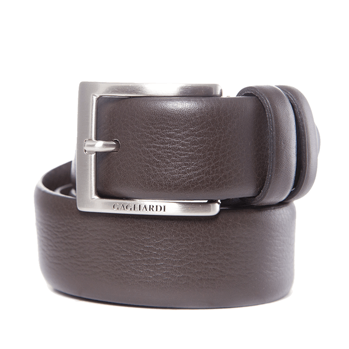 Brown Leather Belt With Branding On Buckle - Gagliardi