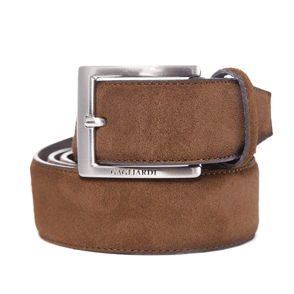 Tan Suede Leather Belt With Branding On Buckle