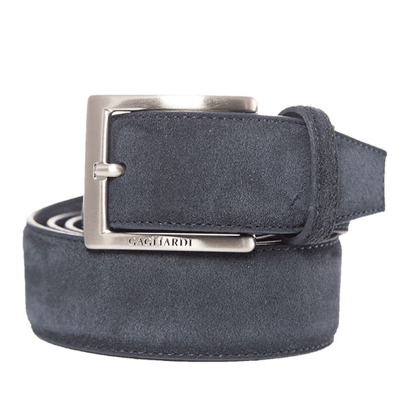 Navy Suede Leather Belt With Branding On Buckle