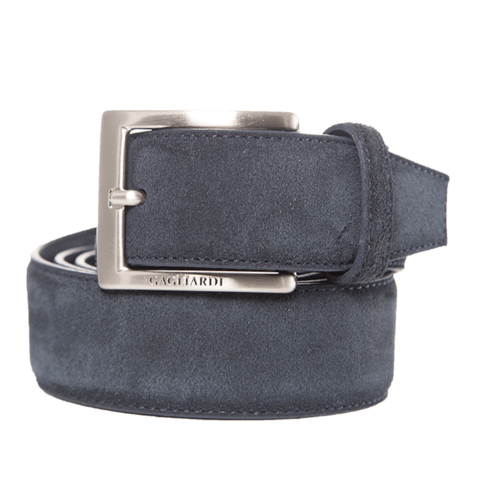 Navy Suede Leather Belt With Branding On Buckle - Gagliardi