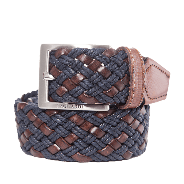 Brown & Navy Woven Belt