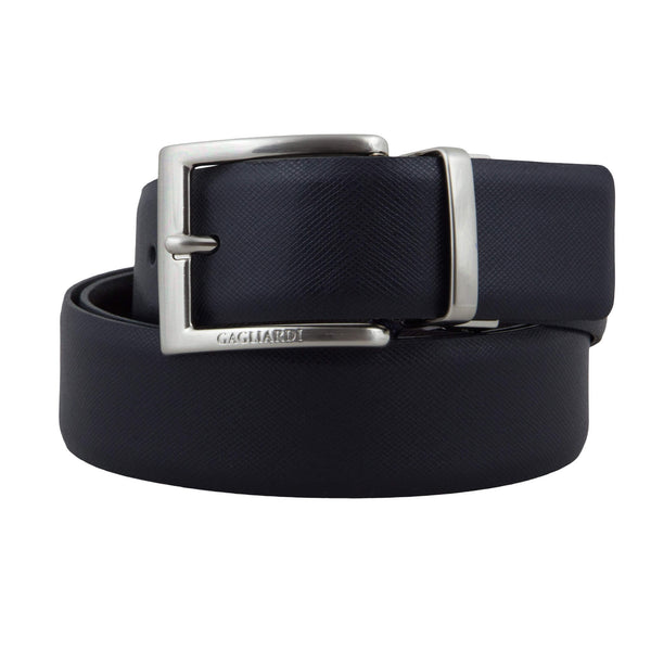 Navy Etched & Brown Etched Reversable Belt
