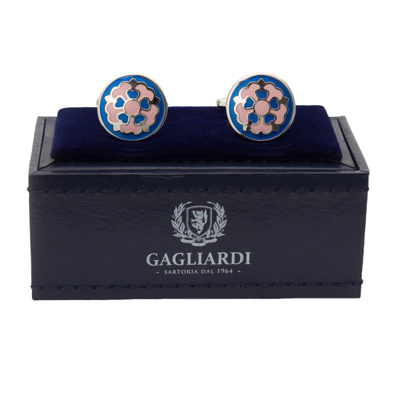 Round Cufflinks with Floral Design Cufflinks - Gagliardi