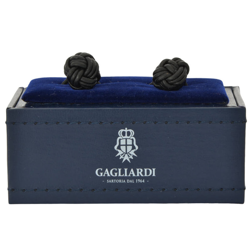 Shiny Rhodium With Black Leather Knot Cufflinks - Gagliardi