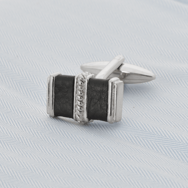 Rectangle Silver With Black Leather Cufflinks - Gagliardi