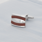 Rectangle Silver With Brown Leather Cufflinks - Gagliardi