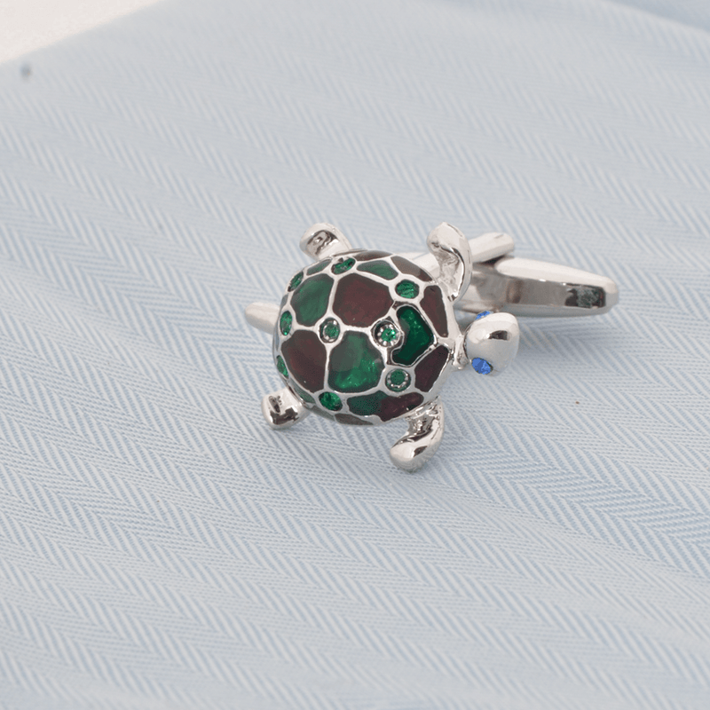 Silver Sea Turtle Green Purple Epoxy Cufflinks - Gagliardi