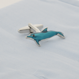 Silver Dolphin In Blue Epoxy Cufflinks - Gagliardi