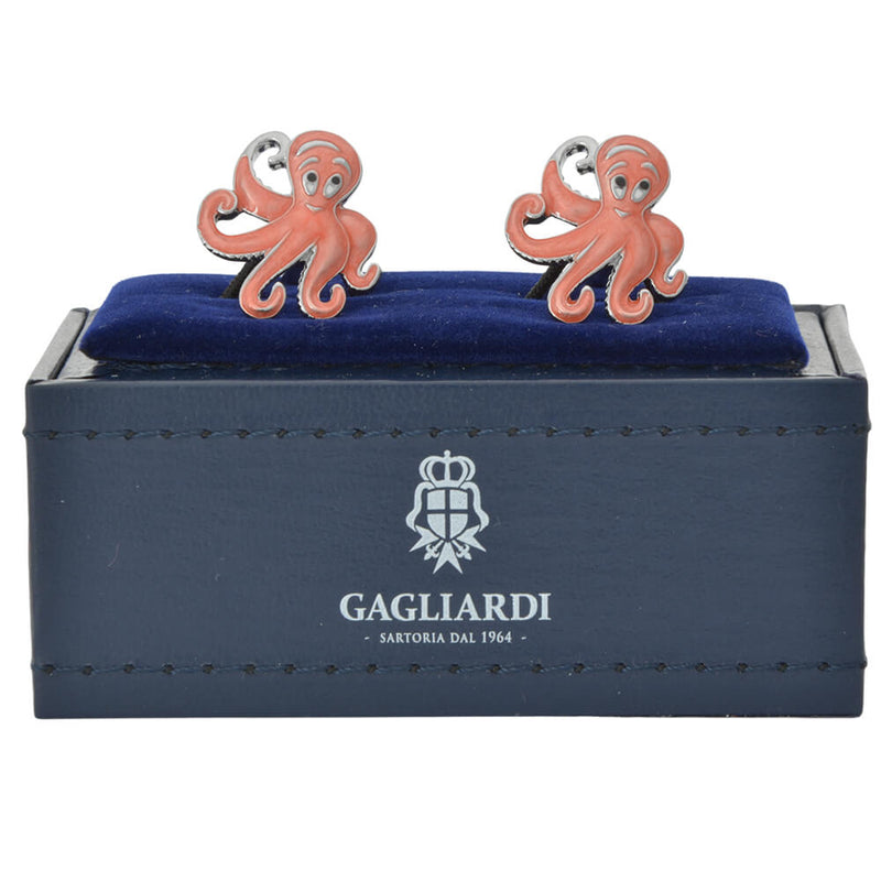 Octopus In Coral Epoxy Cufflinks - Gagliardi