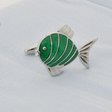 Silver Fish With Green Epoxy Cufflinks - Gagliardi