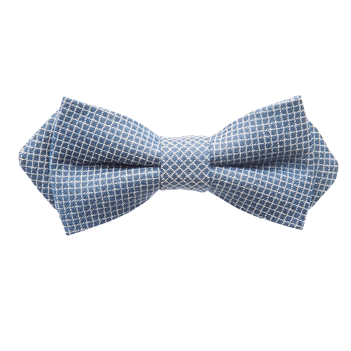 Navy Diamond Weave Bow Tie