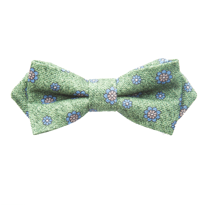 Green & Sky Flower Bow Tie