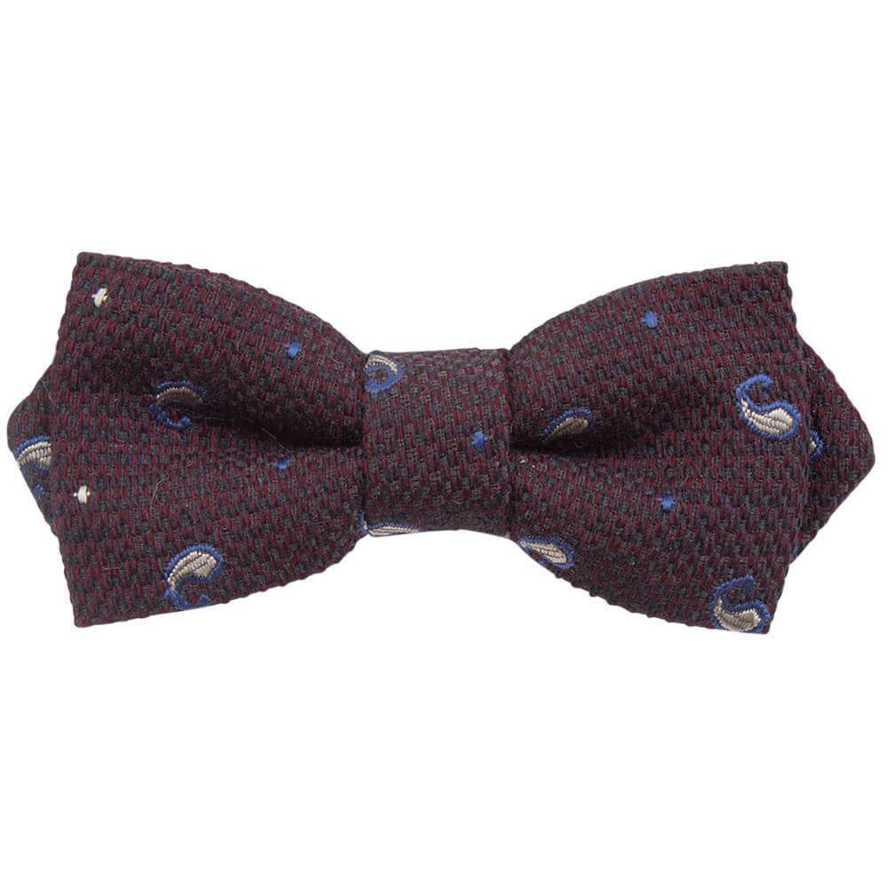 Mirabilis Bordeaux With Taupe Paisley Design Bow Tie