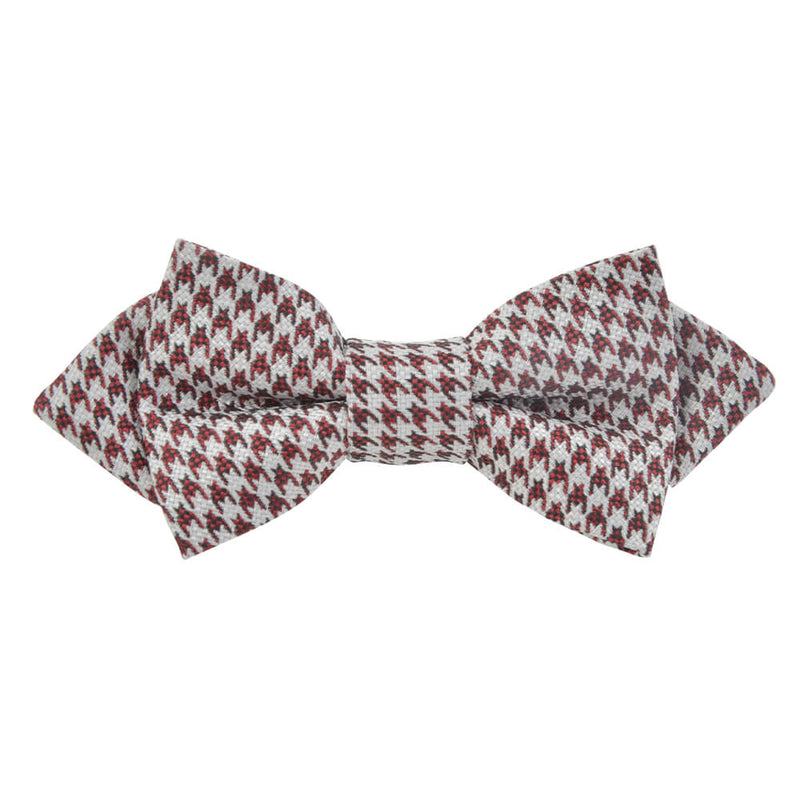 Red With White Dogstooth Bow Tie - Gagliardi