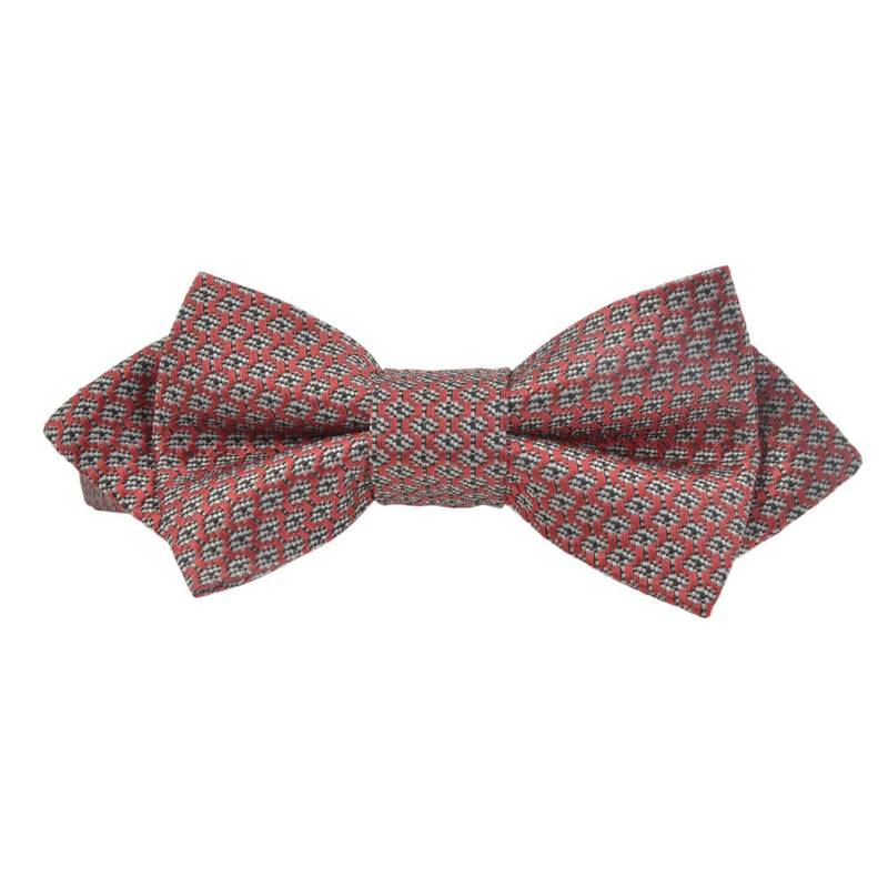 Red With Black And White Geometric Design Bow Tie - Gagliardi