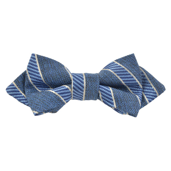 Blue With Blue And White Stripe Bow Tie - Gagliardi