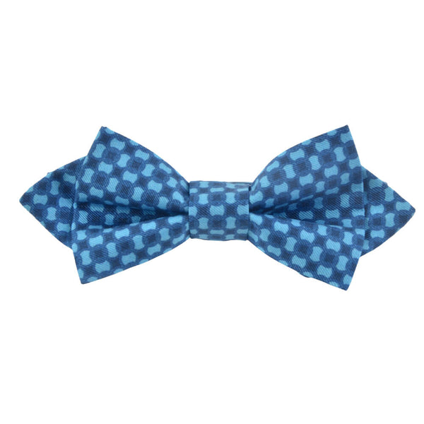 Blue With Sky Flower Bow Tie
