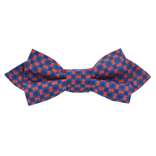 Blue With Red Flower Bow Tie