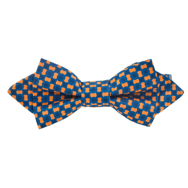 Blue With Orange Flower Bow Tie