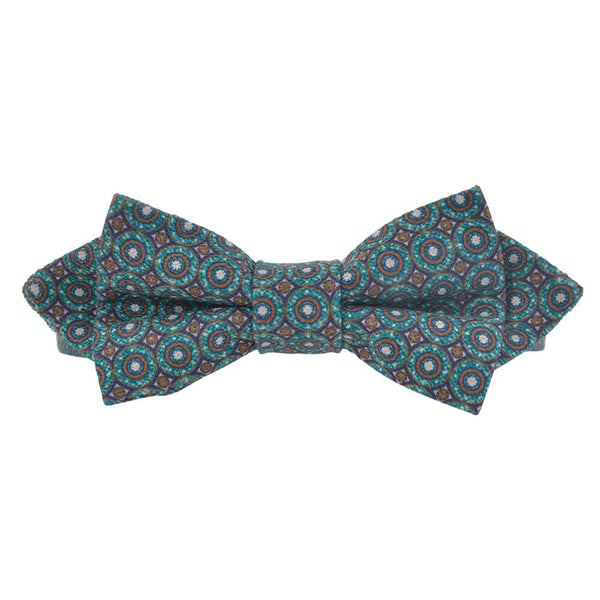 Green With Tan Circles Bow Tie
