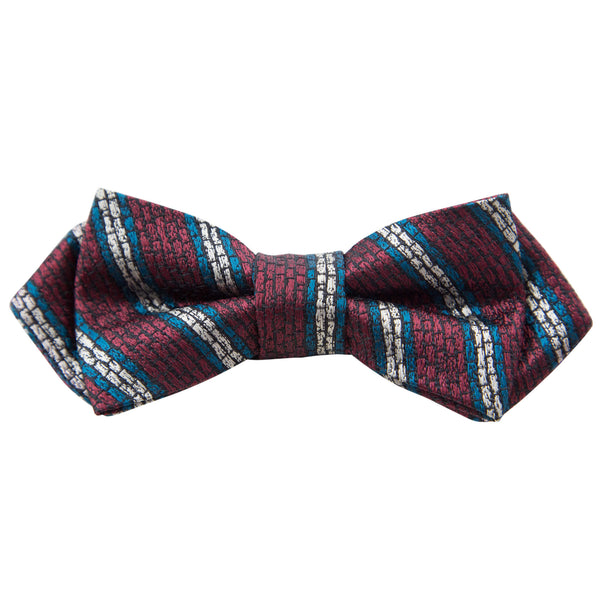 RED WITH TEAL AND BEIGE STRIPES BOW TIE
