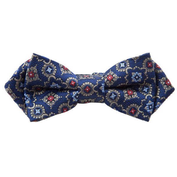 BLUE WITH STONE MEDALLIONS BOW TIE