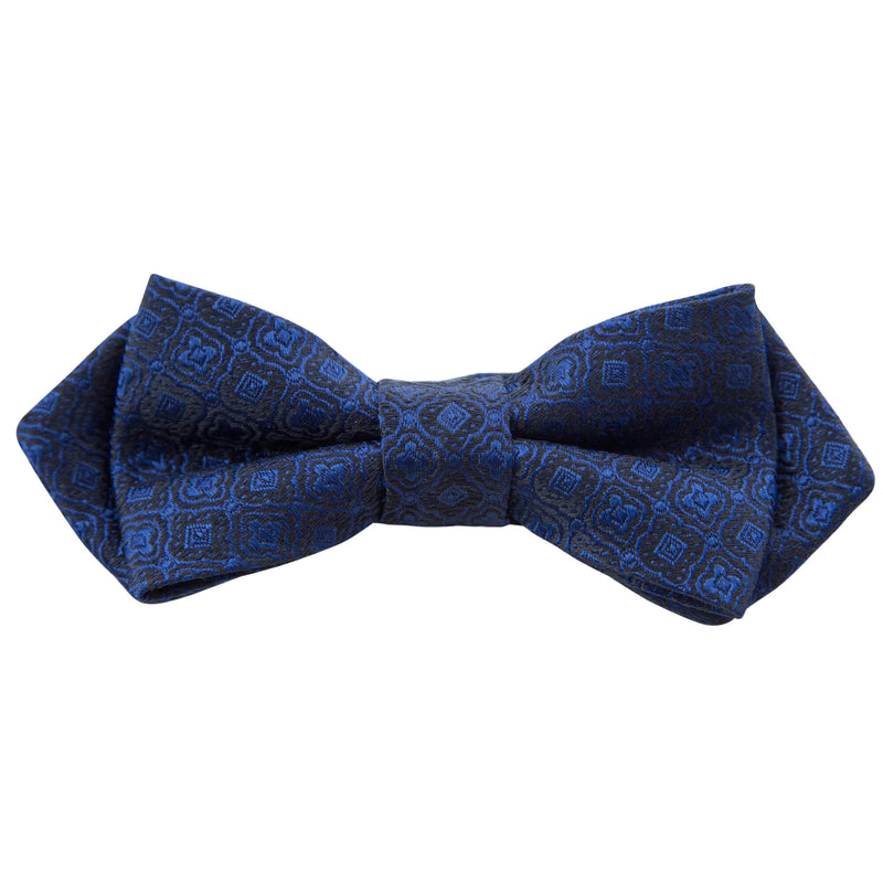BLUE WITH BLACK GEOMETRIC DESIGN BOW TIE