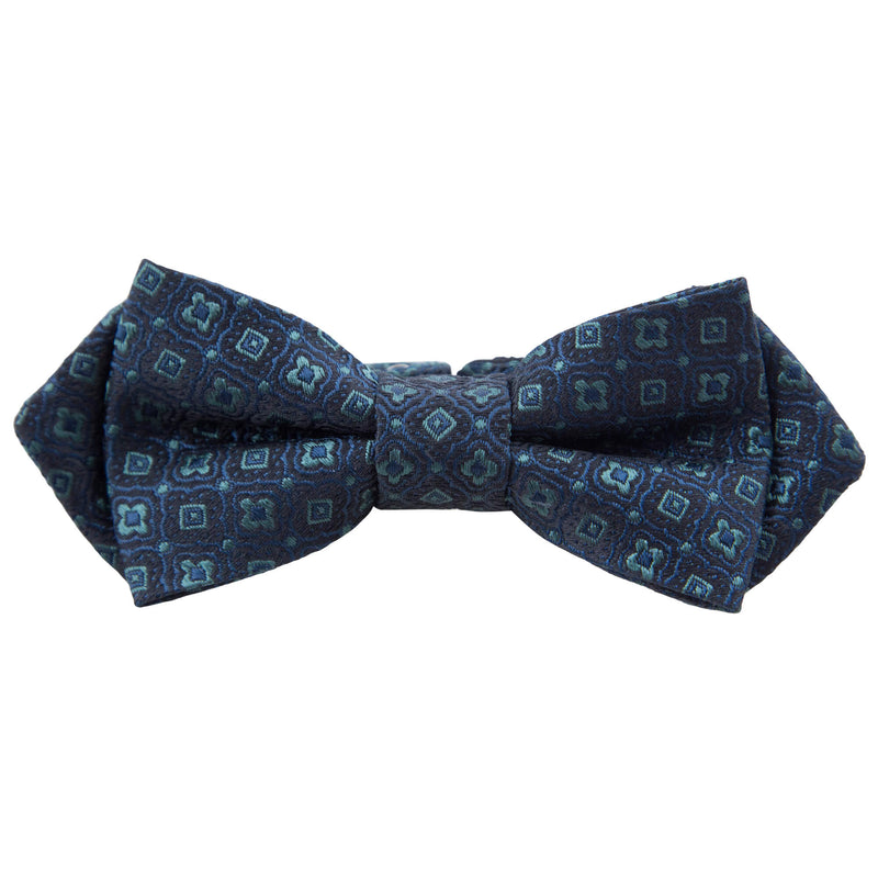 NAVY WITH TEAL GEOMETRIC DESIGN BOW TIE