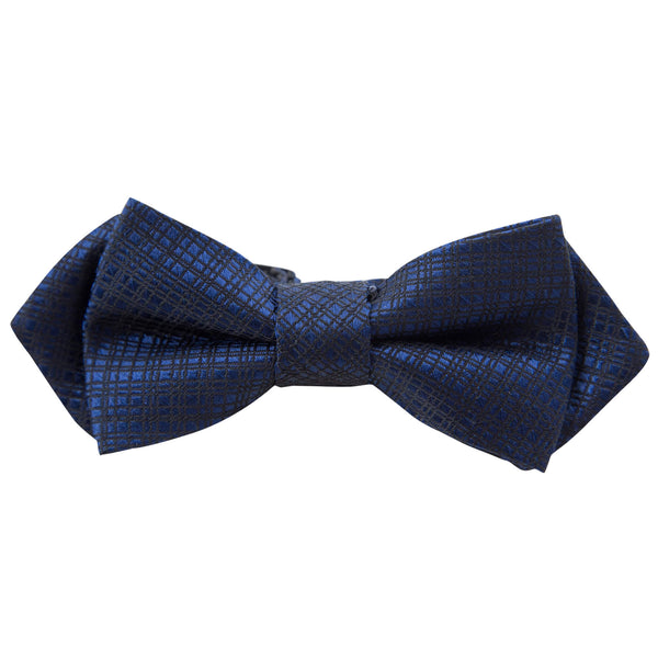 BLUE WITH BLACK CRISS CROSS DESIGN BOW TIE