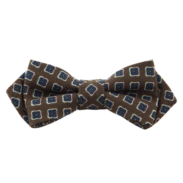 ORANGE WITH WHITE AND BLUE SQUARES BOW TIE
