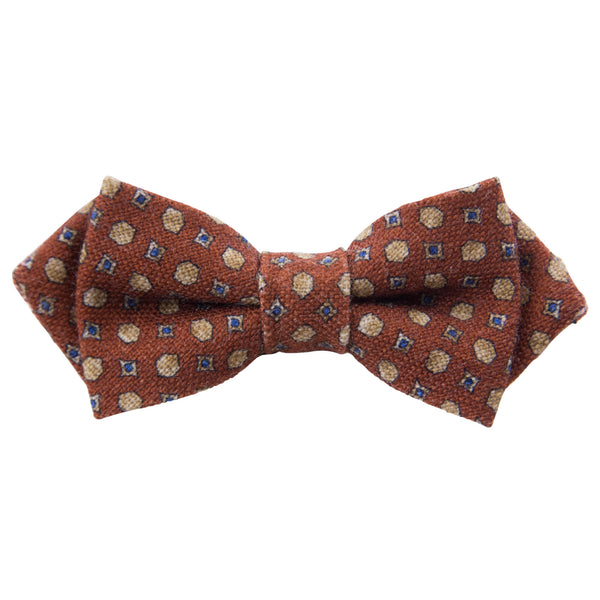 ORANGE WITH GOLD AND BLUE MOTIF BOW TIE