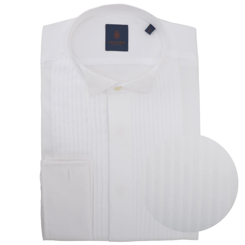 Tailored Fit White Pleated-front Wing Collar Dress Shirt - Gagliardi