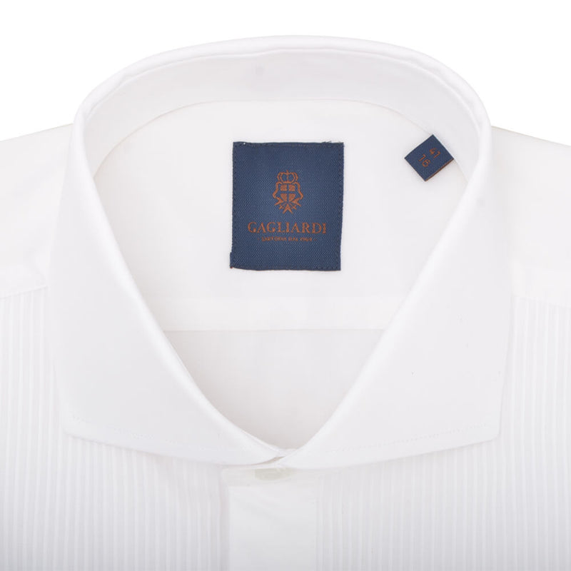 Slim Fit White Poplin Dress Shirt - Gagliardi