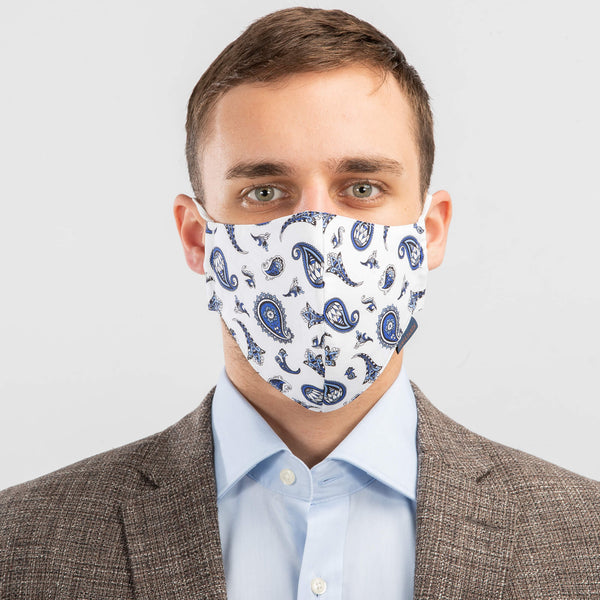 Machine Washable Community Face Mask Paisley Navy