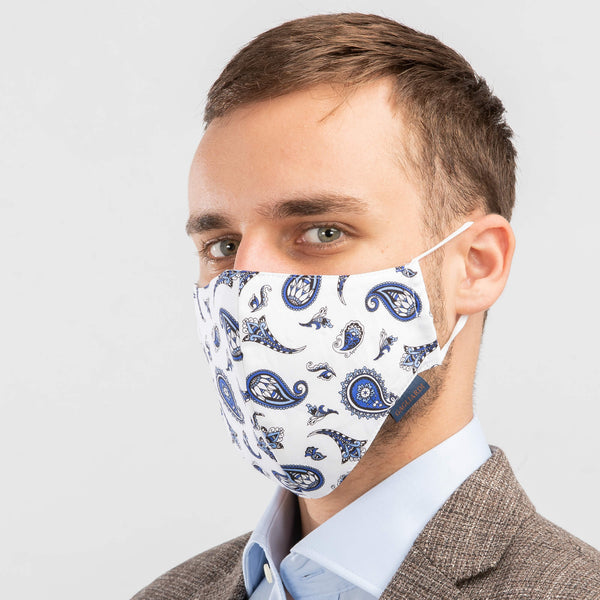 Machine Washable Community Face Mask Paisley Navy Pack of 7
