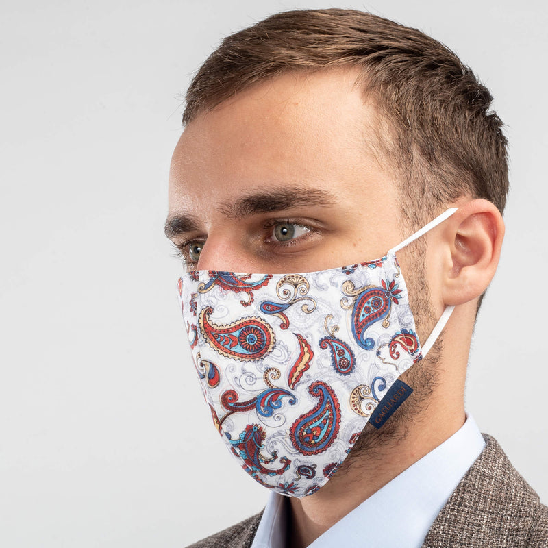 Machine Washable Community Face Mask Paisley Red
