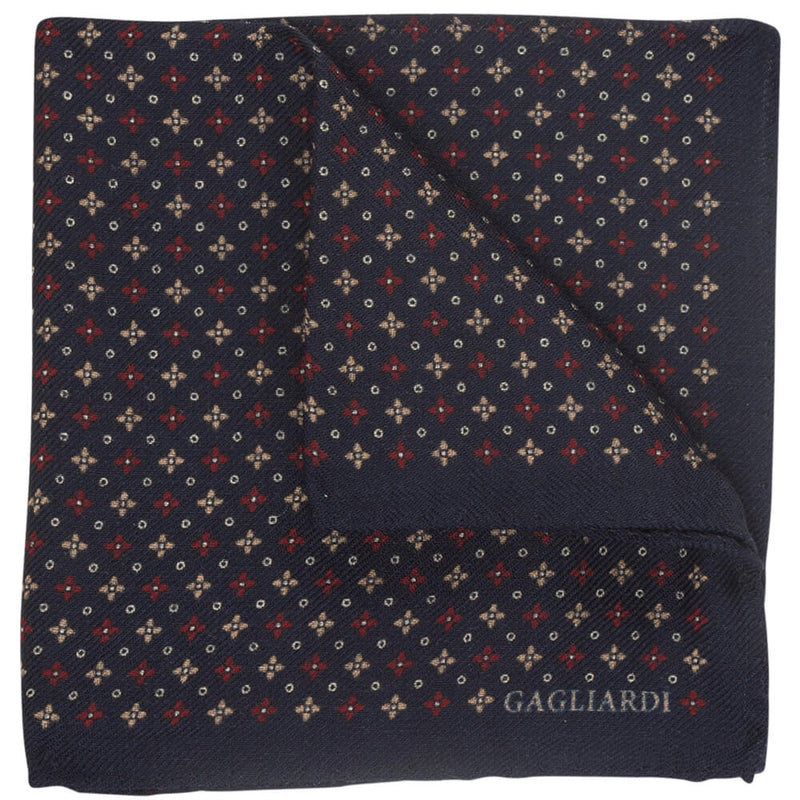 Navy With Small Diamond Floral Pocket Square - Gagliardi