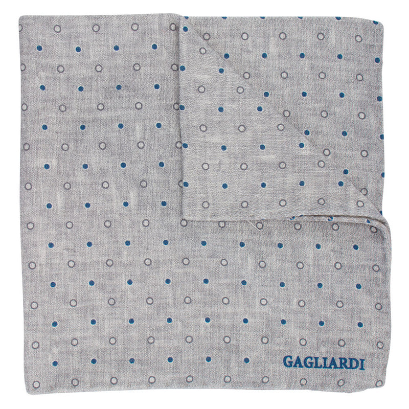 Silver Grey With Blue & White Spots Pocket Square - Gagliardi