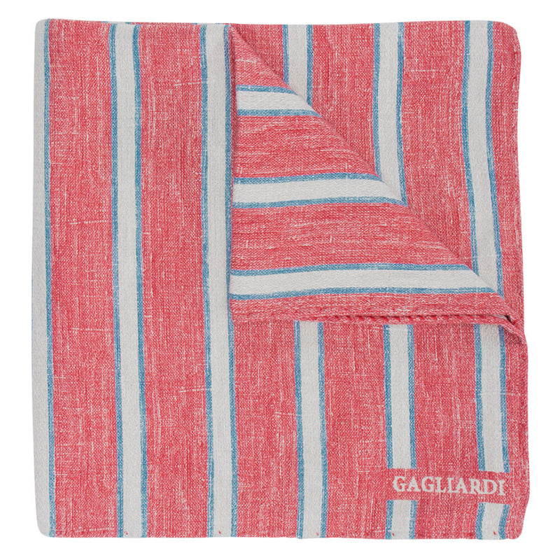 Red With Cream & Sky Stripes Pocket Square - Gagliardi
