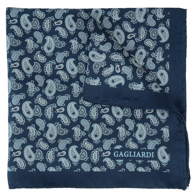 Navy With Silver Pailsey Pocket Square - Gagliardi
