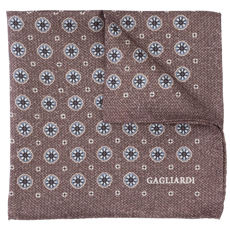 Beige With Grey Floral Roundel Pocket Square - Gagliardi