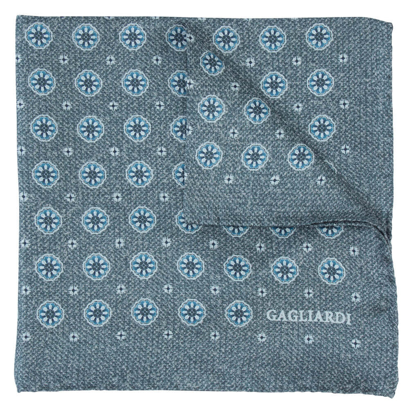 Grey With Blue Floral Roundel Pocket Square - Gagliardi