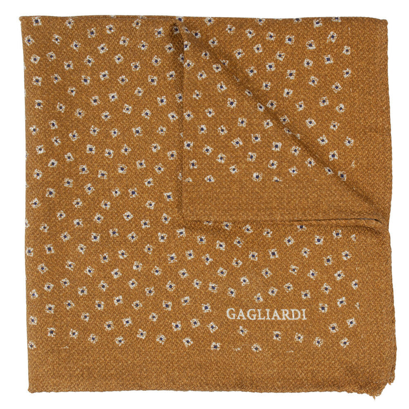 Mustard With Stone And Navy Square Pocket Square - Gagliardi