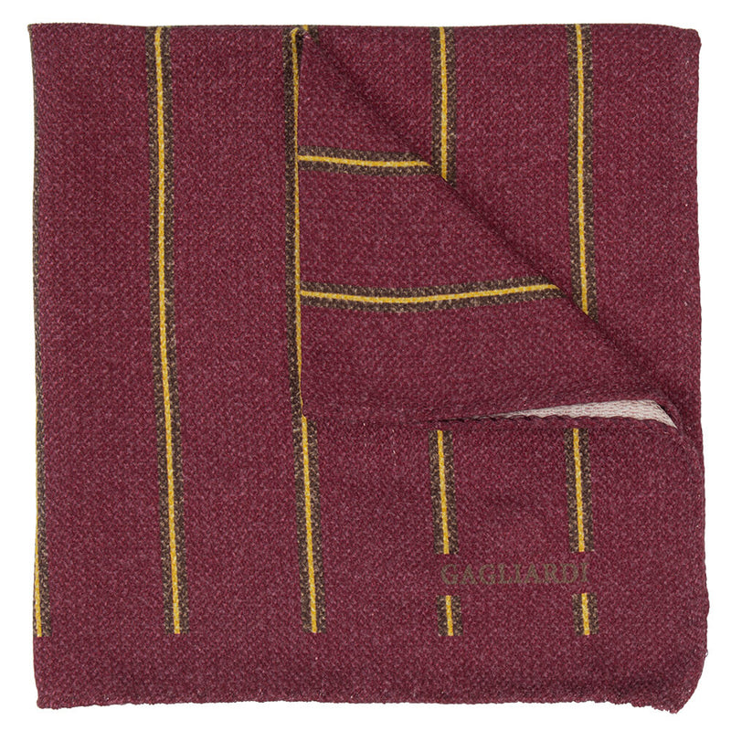 Red With Brown And Yellow Stripe Pocket Square - Gagliardi