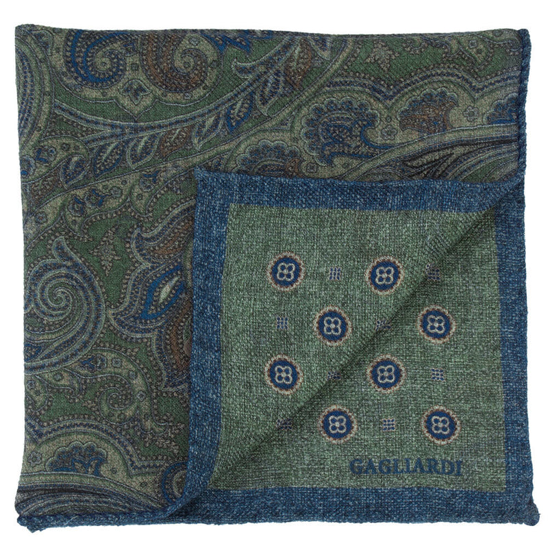 Green Paisley Double Sided Pocket Square