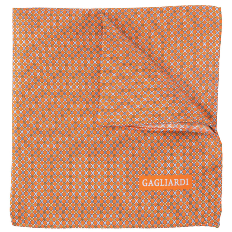 With Orange Circles Pocket Square - Gagliardi